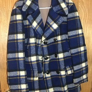 vintage 1940's Sears Hercules wool plaid coat